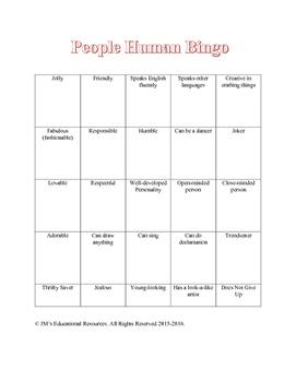 Human Bingo Game