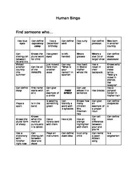 Human Bingo Intro Game