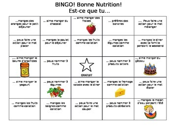 Core French Human Bingo - Nourriture