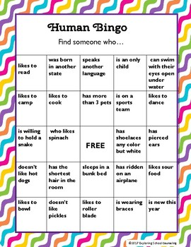 Human Bingo for Students and Staff by Exploring School Counseling