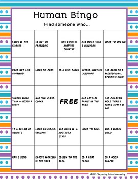 Human Bingo for Students and Staff