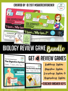 """Human Biology Review Game Bundle (""""I have...Who has...?"""")"""