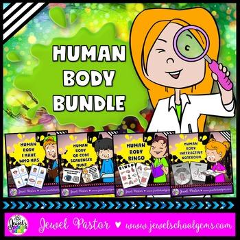Human Body Activities BUNDLE (Interactive Notebook, QR Codes, Bingo and Game)