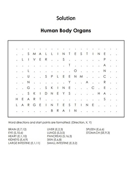 Human Body Systems Review: Organs Word Search/ Coloring Sheet