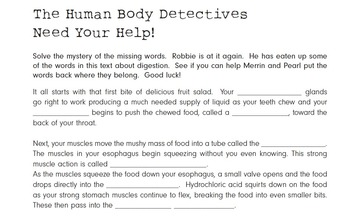 Human Body Detectives Go into the Digestive System