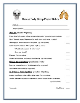 Human Body Group Research Project Rubric