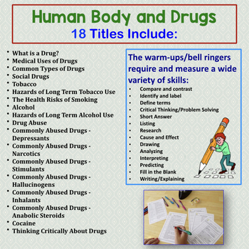 Human Body Warm Ups, Bell Ringers: DRUGS