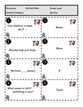 Human Body Kagan Review Game Quiz Quiz Share