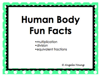 Human Body Math Facts Task Cards