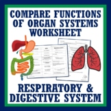 Human Body Systems Review: Compare Digestive & Respiratory System MS-LS1-3