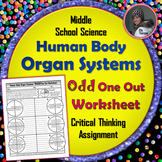 Human Body Organ Systems Odd One Out Worksheet
