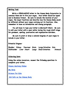 Human Body Persuasive Letter