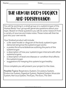 Inquiry-Based Human Body Project Presentation with Rubric