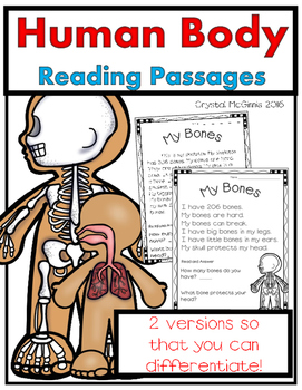 Human Body Reading Passages for Young Learners (Brain, Heart, Stomach, & More)