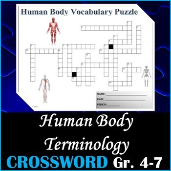 Human Body Science Vocabulary Crossword Puzzle Activity Grades 5-7