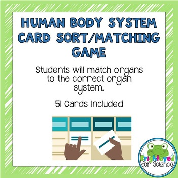 Human Body System Card Sort/Matching Game  Editable