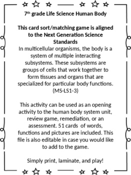 The Game Of Life Job Cards Human Body Syst...