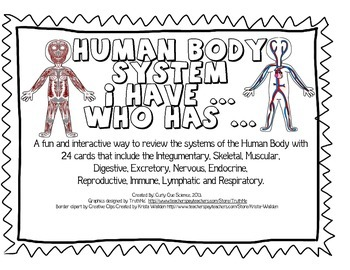 "Human Body System ""I Have Who Has"" Activity"