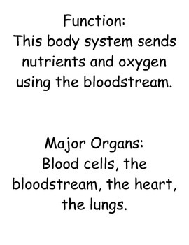 Human Body System: Review Cards