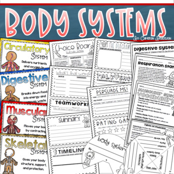 human body systems activities project craft quizzes posters bundle