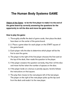 Human Body Systems  BOARD GAME