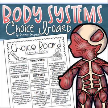 Human Body Systems Choice Board Tic Tac Toe Menu Research Project Activity