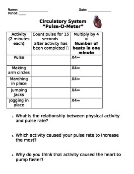 Human Body Systems - Circulatory System Pulse-O-Meter LAB
