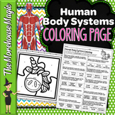 Human Body Systems Science Color By Number or Quiz