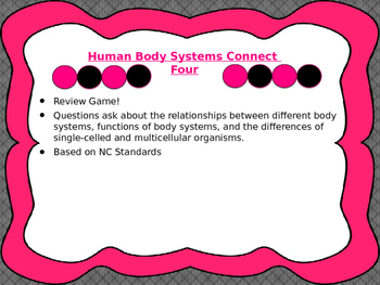 Human Body Systems Connect Four Review Game