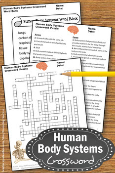 Human Body Systems Grade 5 Crossword Puzzle, Human Body Worksheets