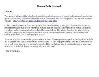 Human Body Systems Independent Research Middle School-EDITABLE
