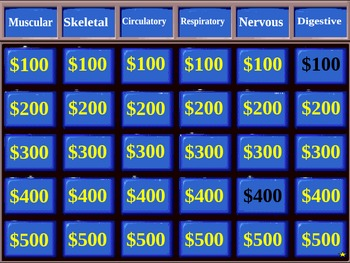 Human Body Systems Jeopardy