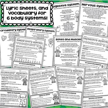 Human Body Systems (Lyric Sheets, Worksheets, Activities, Vocabulary, and More)