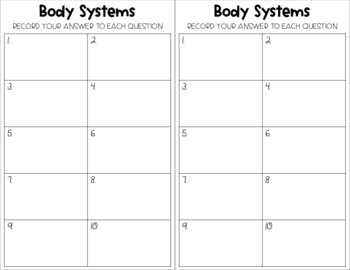 Human Body Systems - Montessori 3 Part Cards