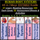 Human Body Systems - Notes, Task Cards, Worksheets, Etc. 4th-7th EDITABLE BUNDLE
