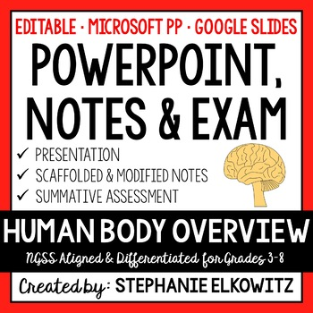 Human Body Systems Overview PowerPoint, Notes & Exam (Diff