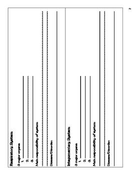 Human Body Systems Presentation Worksheet