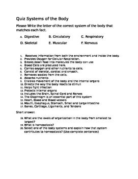 Human Body Systems Quiz