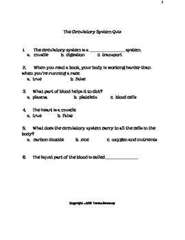 Human Body Systems Quiz Packet