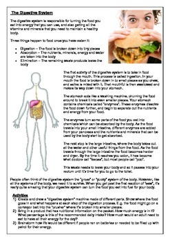 Human Body Systems  - Reading Comprehension + Activities