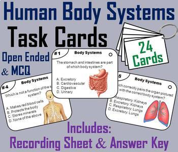 Human Body Systems Task Cards and Activities Bundle
