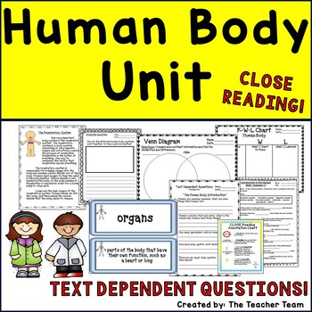 Human Body Systems Unit ~ Close Reading ~ Text Dependent Q