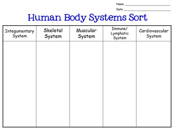 Human Body Systems Sort for Interactive Notebooks: 7.L.1.4