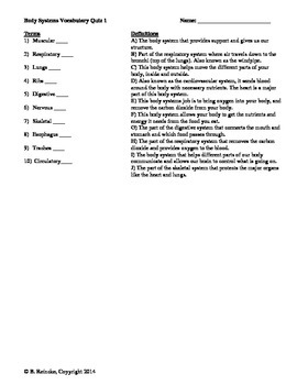 Human Body Systems Vocabulary Matching Quizzes (2 quizzes)