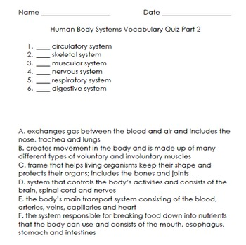 Human Body Systems Vocabulary Quiz Part 2