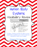 Human Body Systems Vocabulary Review Sheets