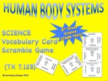 Human Body Systems: Vocabulary Scramble Card Game (TEK 7.12B)