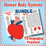 Human Body Systems Worksheet BUNDLE  - 9 Word Search Puzzles