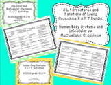 Human Body Systems and Unicellular vs. Multicellular Organisms RAFT Bundle!
