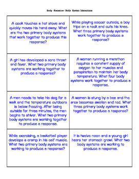 Human Body Systems- card match up activity